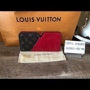 Monogram Canvas Cerise Leather Kimono Wallet.